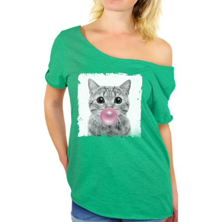 Animal With Womens (Awkward Styles Cute Ladies Off The Shoulder Shirt Women T Shirt Women Clothes Cat with Gum Off The Shoulder Shirt Animal T-Shirt for Woman Funny Animal Gifts Cat Clothing Cat)