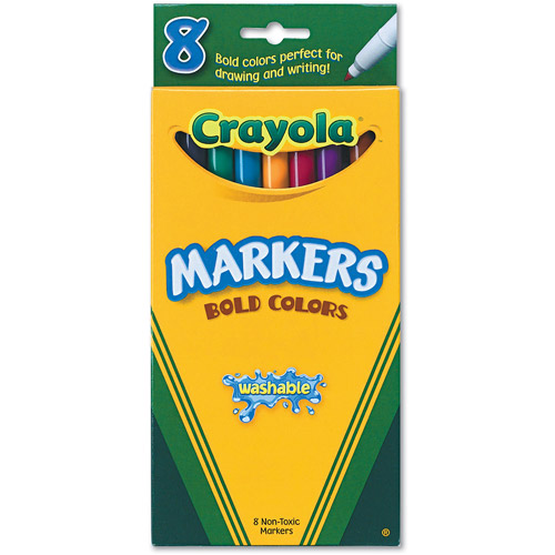 Crayola Fine Point Washable Markers Classic Colors - Bold, 8 count