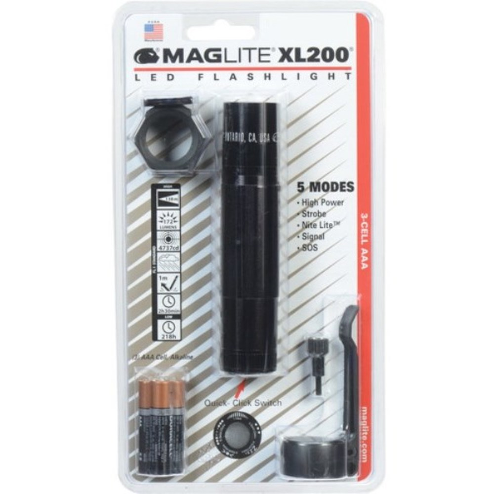 Mag XL-200 LED Flashlight Tac Pack Black