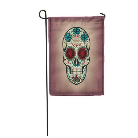 SIDONKU Day Skull Halloween Dead Candy Sugar Black Bones Brainless Celebration Garden Flag Decorative Flag House Banner 12x18 inch