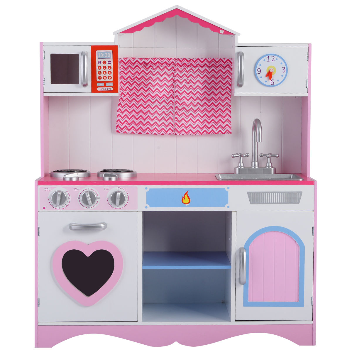 "GHP Kids 32.3""Lx11.8""Wx39.4""H White & Pink Durable Pretend Play Kitchen Cooking Set by"