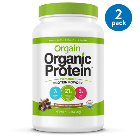 (2 Pack) Orgain Organic Vegan Protein Powder, Chocolate, 21g Protein, 2.0