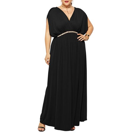 High Waist Batwing Sleeve Dresses Women Maxi Ball Gown Plus Size