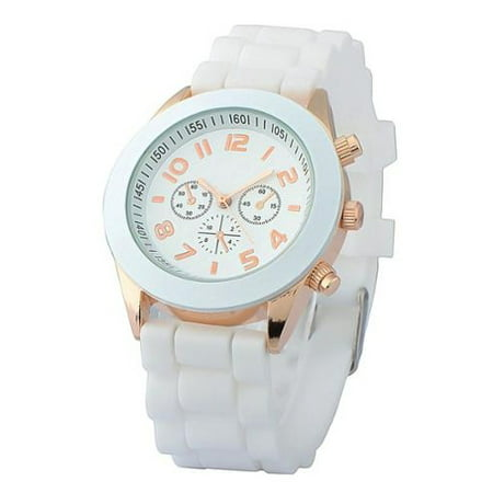 White Unisex Men Women Silicone Jelly Quartz Analog Sports Wrist Watch New ()
