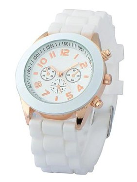 White Unisex Men Women Silicone Jelly Quartz Analog Sports Wrist Watch New