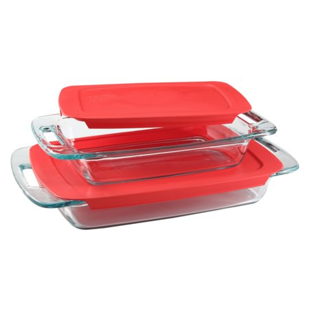 Pyrex Easy Grab Oblong Baking Dish Set, 4 Piece (Pyrex 10 Piece Storage Set With Lid)