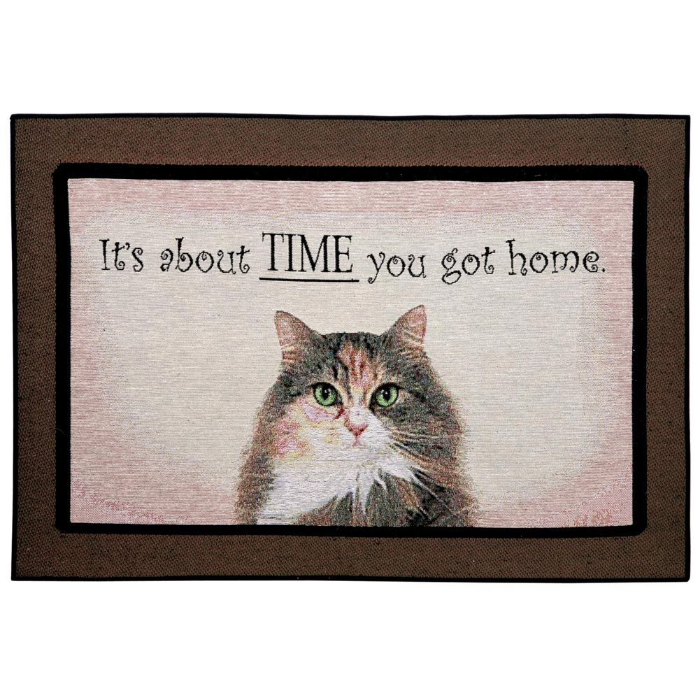 Funny Doormat It's About Time You Got Home Cat Rug by Manual Woodworkers & Weavers