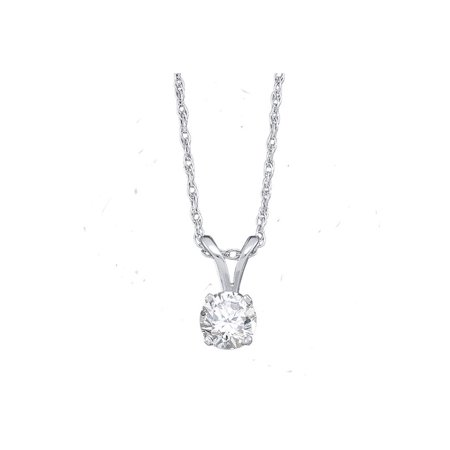 14kt White Gold Womens Round Diamond Solitaire Pendant 1/5 Cttw - image 1 of 1