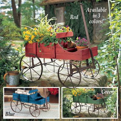 Amish Wagon Decorative Garden Planter-GREEN
