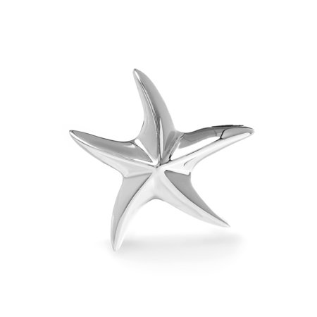 Womens Polished Starfish Pendant in Sterling Silver