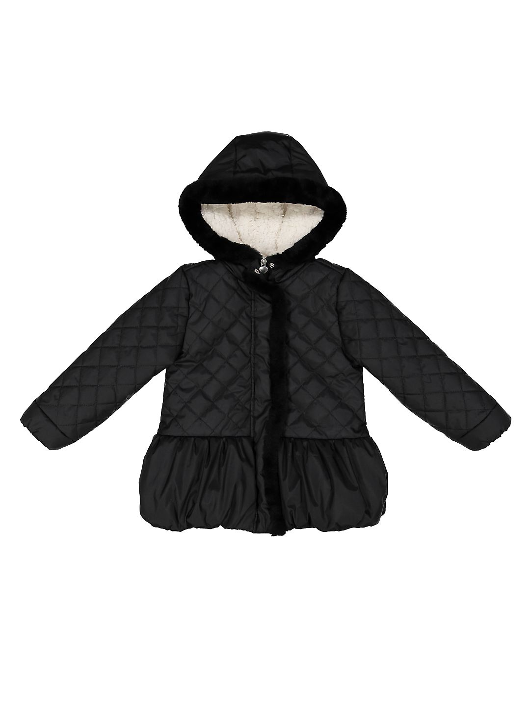 Little Girl's Quilted Faux Fur Puffer Jacket