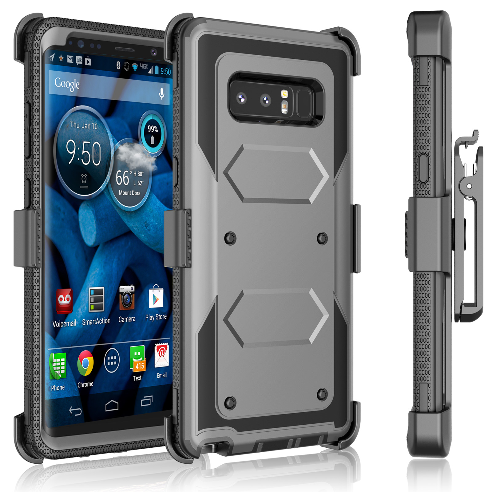 Galaxy Note 8 Case, Samsung Galaxy Note 8 Holster Clip, Tekcoo [Tshell] Shock Absorbing [Coal Black] Secure Swivel Locking Belt Defender Heavy Full Body ...
