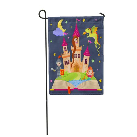 KDAGR Pink Tale Fairytale Book Castle Princess Knight Mermaid Dragon Garden Flag Decorative Flag House Banner 12x18 inch