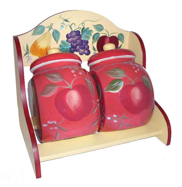 Sandy's Orchard Hand-Painted Storage Jars with Rack by ecWorld