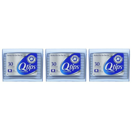 Q-tips Cotton Swabs For Beauty And First Aid Travel Pack 30 Each Pack Of 3