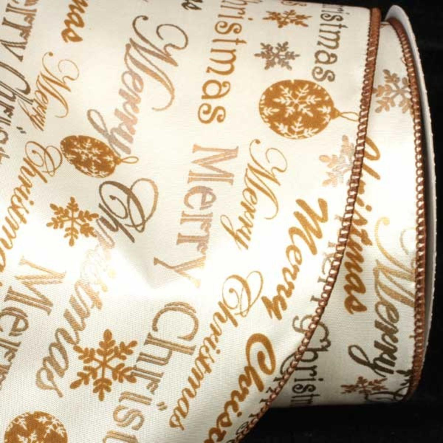 "Merry Christmas Printed Gold and White Wired Craft Ribbon 5"" x 20 Yards"