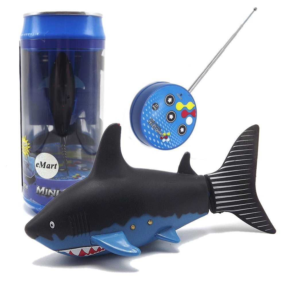 eMart Mini Remote Control Toy Electric RC Fish Boat Shark Swim in Water for Kids Gift - asst colors