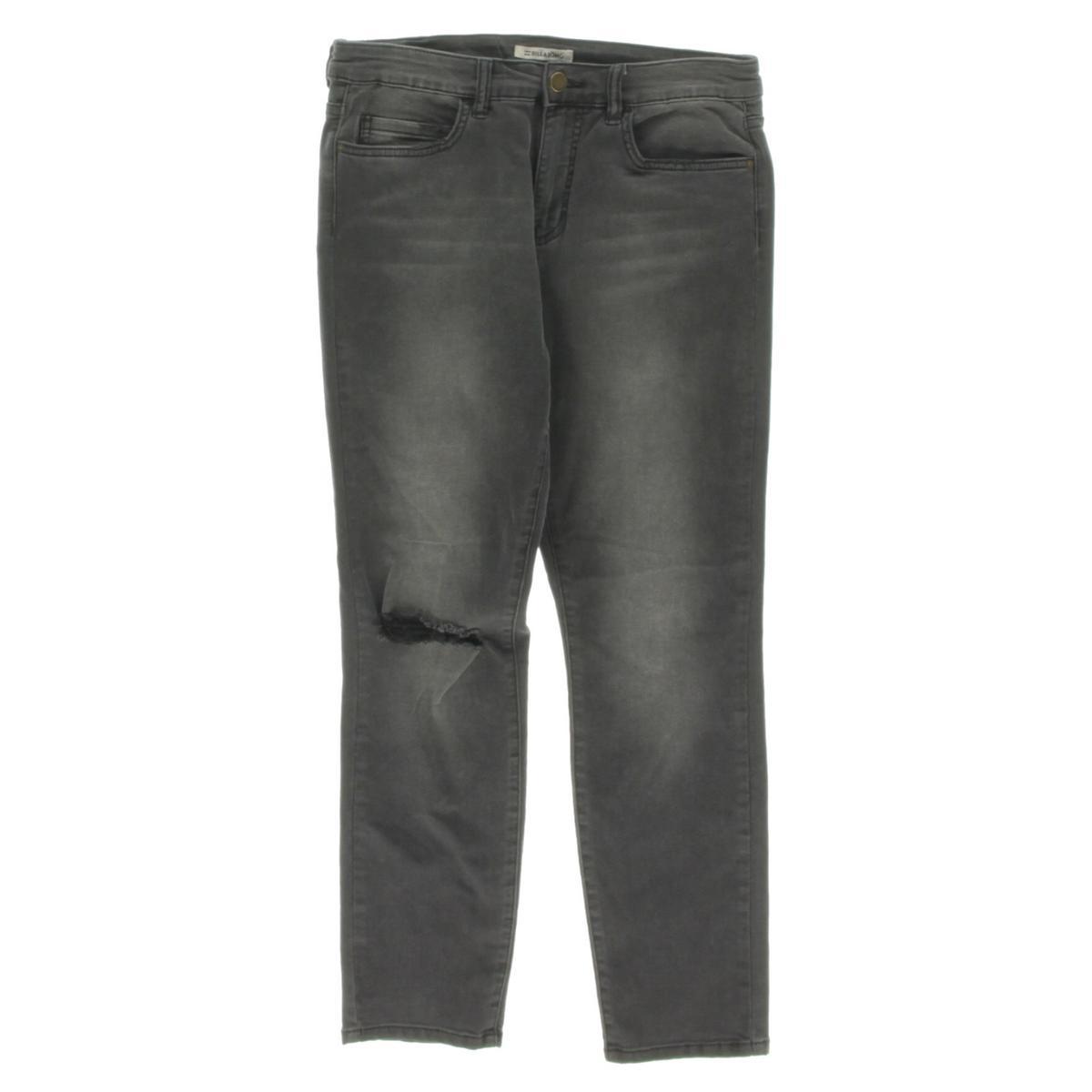 Billabong Womens Hot Mama Distressed Mid-Rise Skinny Jeans