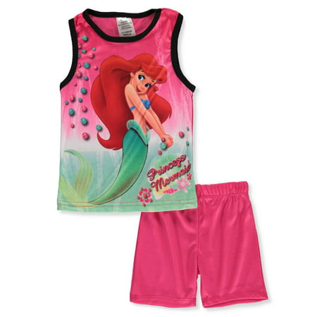 Disney The Little Mermaid Girls' 2-Piece Shorts Set Outfit - Kids Disney Outfits