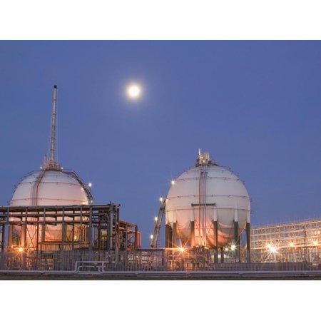 Full Moon over a Petrochemical Plant, Teeside, United Kingdom Print Wall Art By Ashley