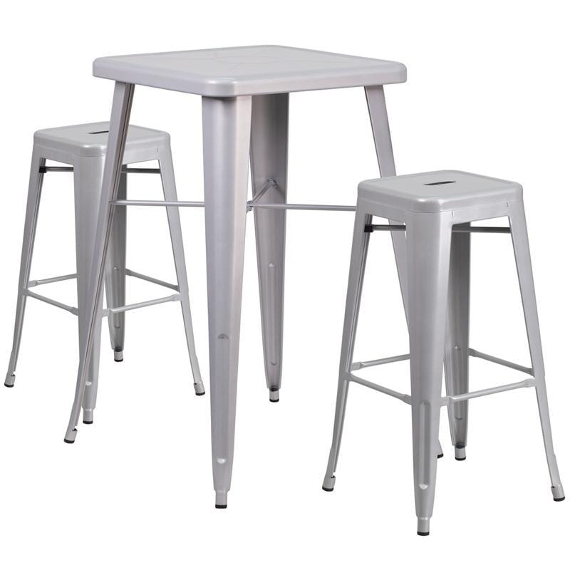 Flash Furniture Metal 3 Piece Bar Table Set in Yellow - image 3 de 7