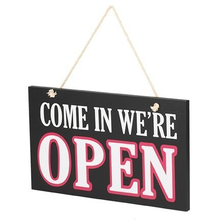 JennyGems Wooden Open and Closed Two Sided Sign With Rope for Hanging - Wooden Business Sign](Sign For Open)