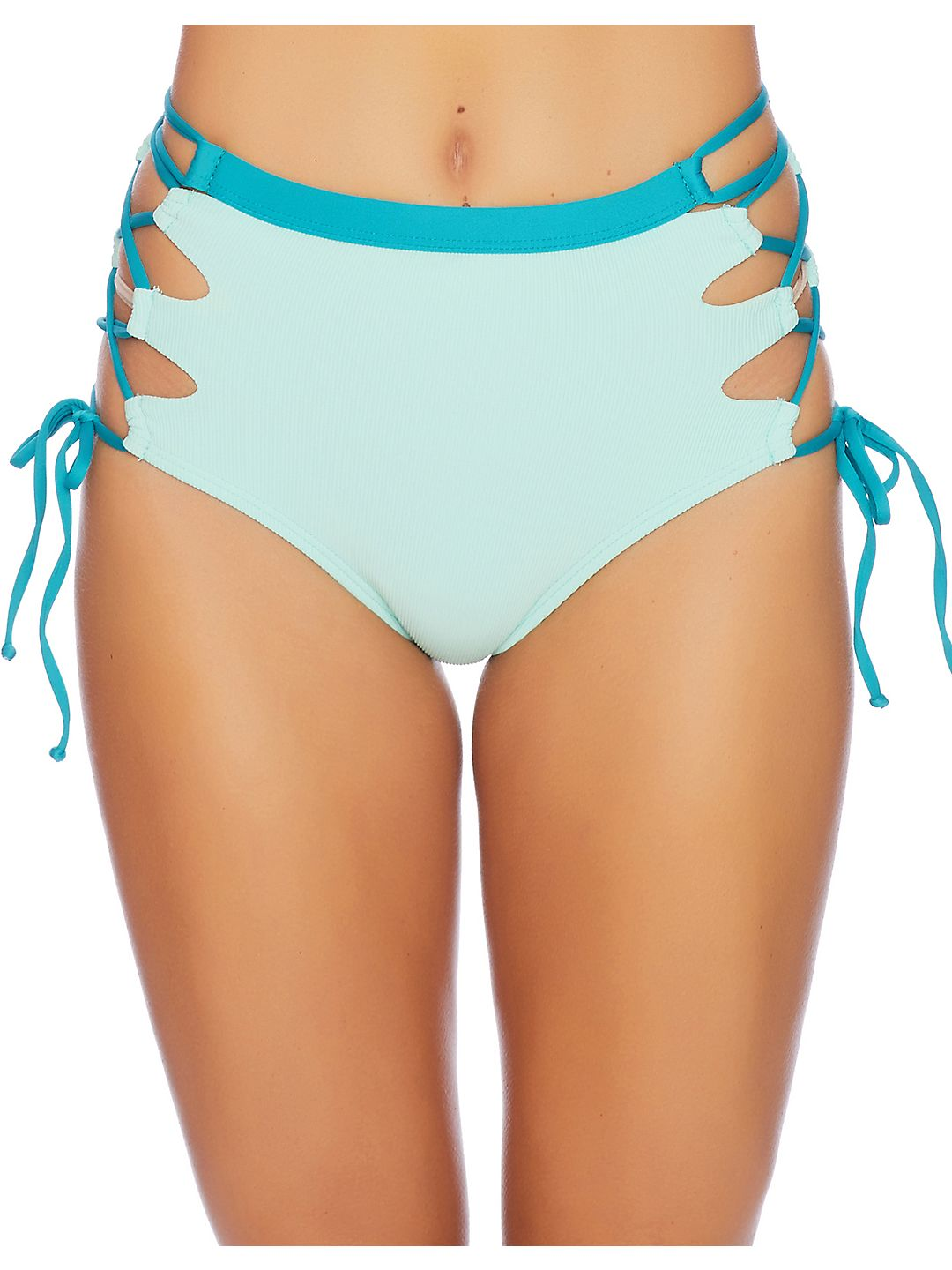 Side Lace-Up High-Waist Bikini Bottom