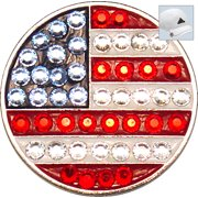 Bella Crystal Golf Ball Marker & Hat Clip - USA Flag
