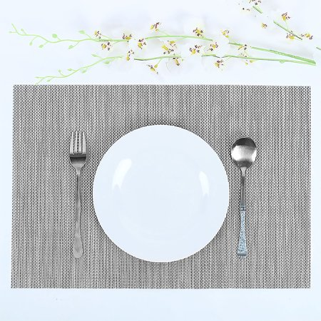 Heat Resistant Non-skid Removable PVC Table Woven Placemats Gray - Skid Placemats
