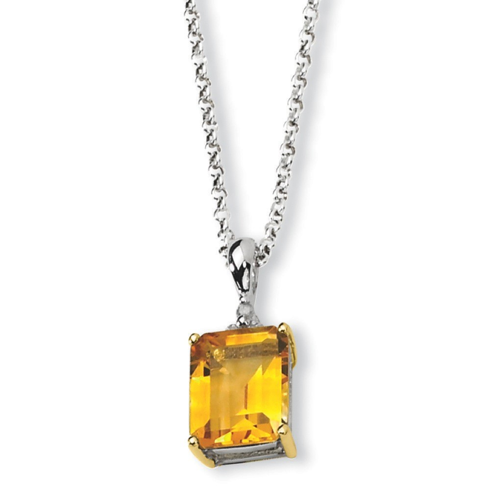 Sterling Silver and 14K Citrine and Diamond Necklace .05 dwt 2.93 cwt 18 Inch by