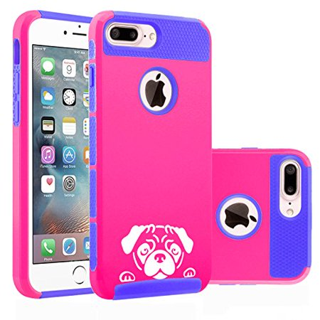 For Apple iPhone (7 Plus) Shockproof Impact Hard Soft Case Cover Peeking Pug Face (Hot Pink-Blue)
