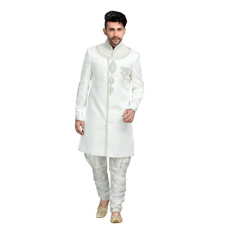 Fancy Off White Jacquard Silk Indian Wedding Sherwani For Men. This product is custom made to order. - image 2 de 2