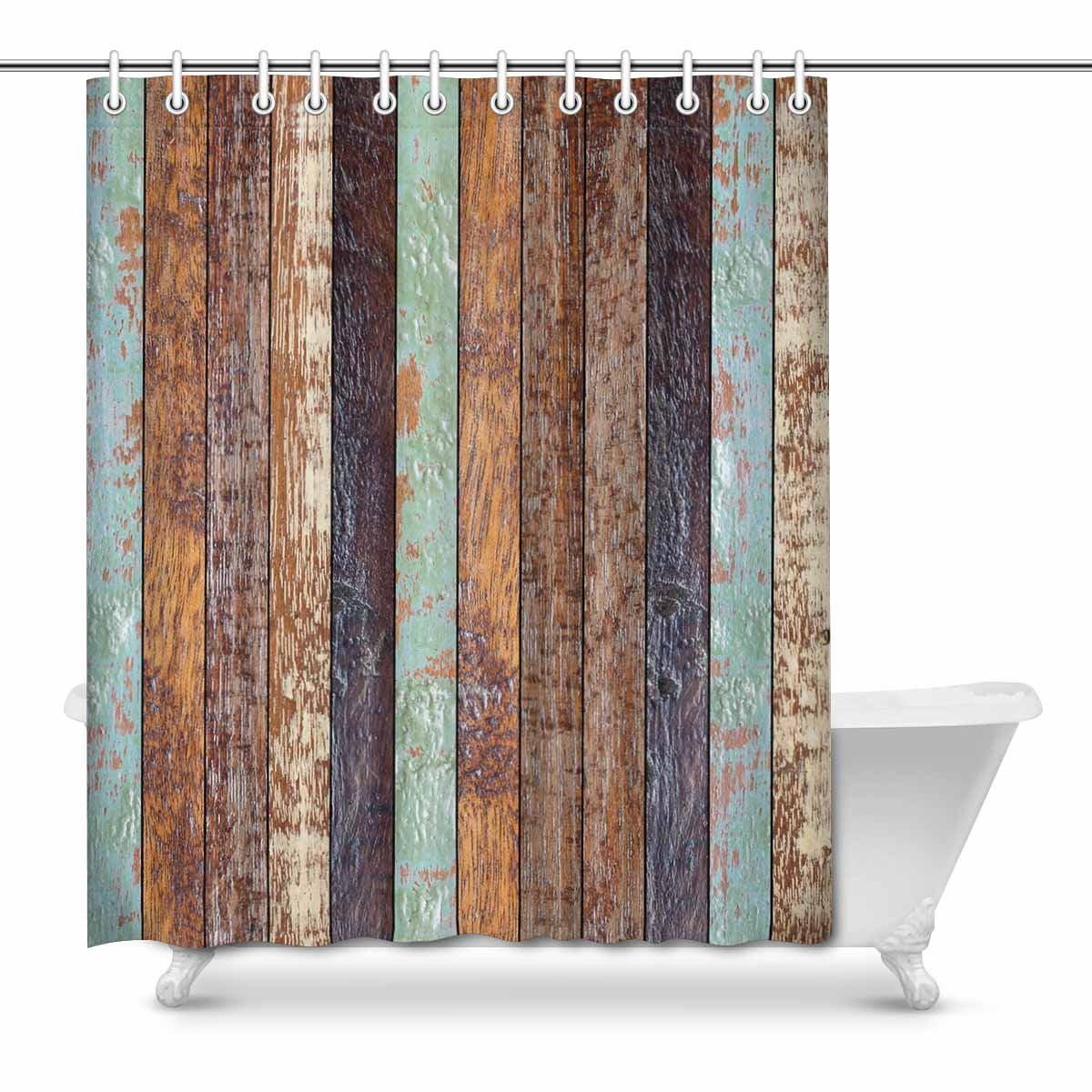 Waterproof Fabric Rustic Wood Board Flowers Shower Curtain Set Bathroom Hooks