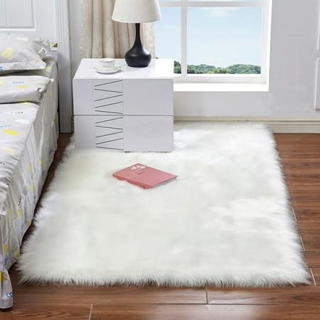Ultra Soft Fluffy Rugs Rectangle Shape Faux Sheepskin Wool Carpet ...