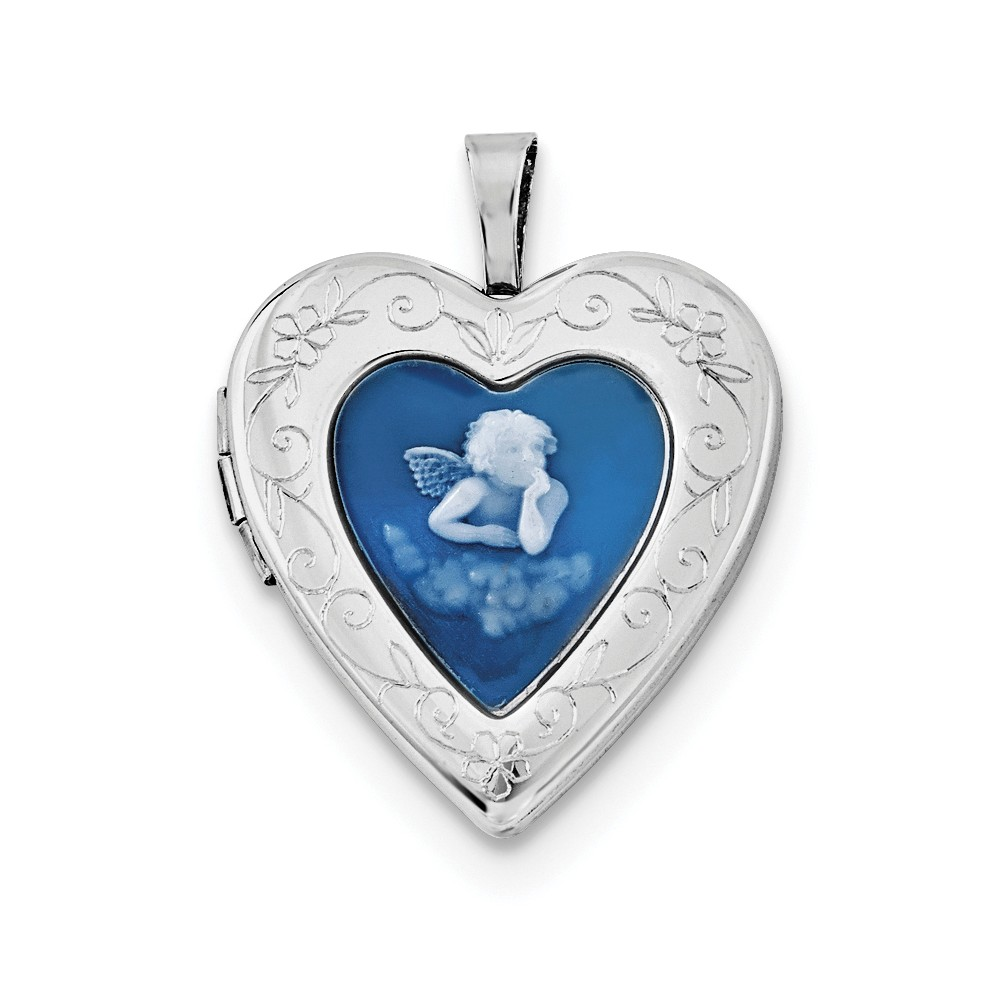 Sterling Silver 20mm Blue Agate Angel Cameo Locket by Jewelrypot