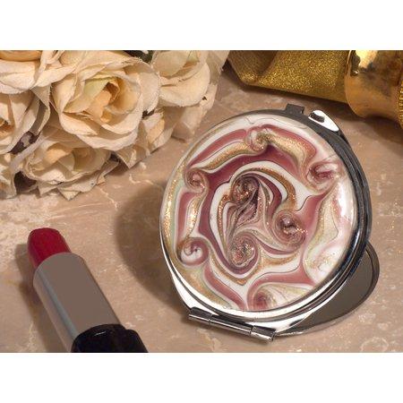 Stylish Murano mauve and gold swirl compact mirror