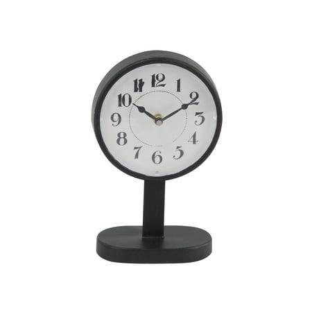 Decmode Modern 10 X 6 Inch Round Black Iron Table Clock ()
