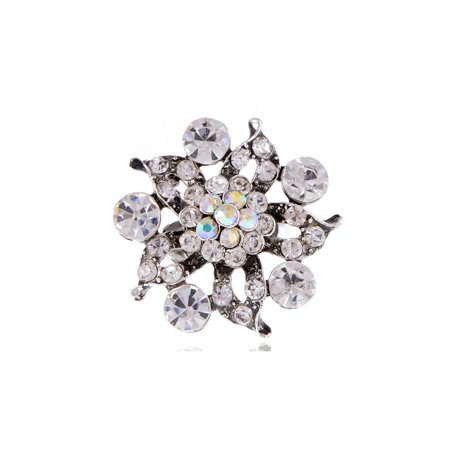 Austrian AB Crystal Rhinestone Floral Petals Clear Floral Flower Adjustable Ring ()