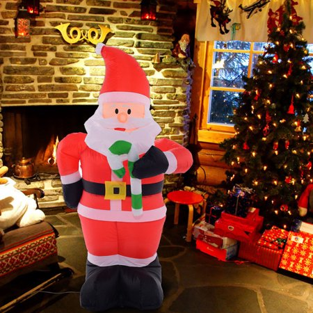 Costway 4 ft airblown inflatable christmas xmas santa for 4 ft santa claus decoration