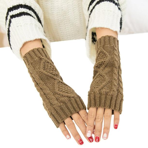 Rhombus Pattern Knitting Half Finger Gloves for Fall ...