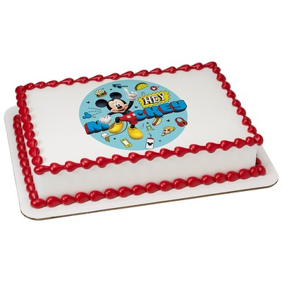 Mickey Mouse Racer Edible Icing Image Cake/Cupcake Party Topper for 8 inch Round Cake