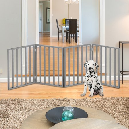 "Wooden Pet Gate- Foldable 4-Panel Indoor Barrier Fence, Freestanding and Lightweight Design for Dogs, Puppies, Pets- 72 x24"" by PETMAKER (Gray Paint)"