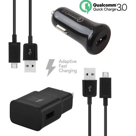 Quick Charger Set Compatible with Coolpad Rogue Devices-[1 x qc 2.0 amp Wall Charger+1 x qc 3.0 amp Car Charger+2 x Micro USB Cable]-Faster Charging!-Black - image 5 de 9