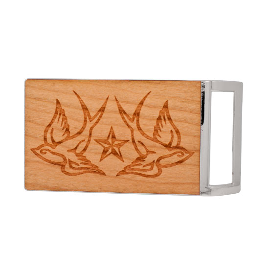 Buckle Rage Tattoo Swallows Stars Real Wood  Rectangle Belt Buckle, POLISHED SILVER, W1006-139-SIL