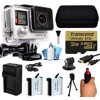 GoPro Hero 4 HERO4 Silver Edition 4K Action Camera Camcorder with 32GB MicroSD Card, Stabilization Hand Grip, 2x Batteries, Home and Car Charger, Medium Case, HDMI, Dust Cleaning Care Kit