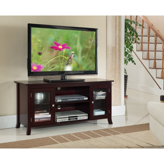 48 Dark Cherry Wood Entertainment Center Tv Console Stand With Storage Gl Cabinets Shelves