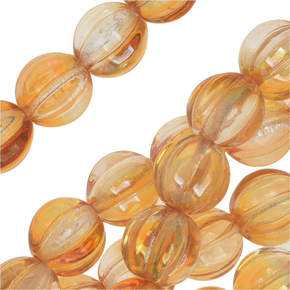 Czech Pressed Glass - Round Melon Beads 8mm Diameter 'Crystal Celsian' (25)
