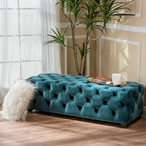 ModHaus Living Modern Contemporary Button Tufted Velvet Fabric Upholstery Foot Stool Ottoman Bench with Dark Brown Legs - Includes Pen (Green Teal)