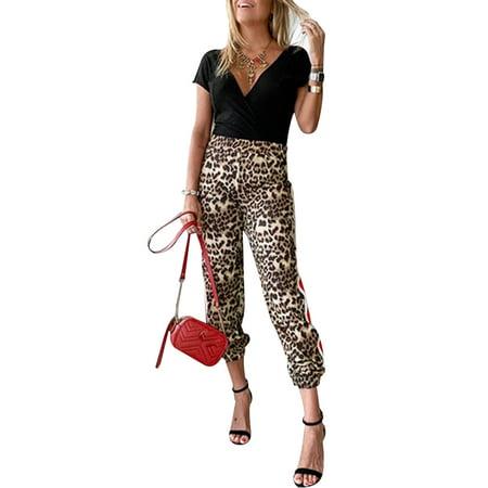 Womens High Waist Leopard Loose Causal Trousers Ladies Harem Baggy Hip Hop Pants