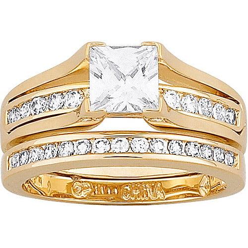 275 Carat TGW Cubic Zirconia Gold Plated 2 piece Wedding Ring